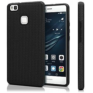 moex Chevron Case für Huawei P9 Lite | OneFlow Schutzhülle aus Silikon und TPU | Zubehör Cover zum Handy Schutz | Handyhülle Bumper Tasche Textil Optik in Schwarz