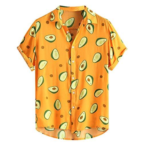 Crazboy Herren Mode Lustig Avocado Gedruckt Abdrehen Halsband Kurzarm Beiläufig Hemden(X-Large,Gelb-A) -