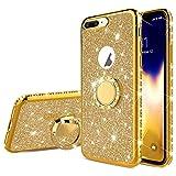 Surakey Cover Compatibile con iPhone 7 Plus/8 Plus Brillante Glitter Silicone Custodia con Anello Supporto Strass Bling Case Bordo Placcato Diamante Gomma Morbida Sottile Protettiva Cover,Oro