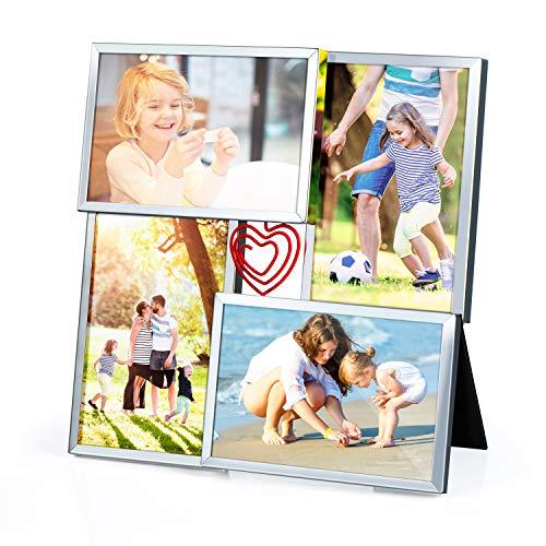 Love-KANKEI Bilderrahmen Mehrere Bilder 4 Foto Fotorahmen Collage für Tisch Platte mit Dekorativem Drehbarem Liebesherz Geschenk für Geburtstag Muttertag Jubiläumstag 10 x 15 cm