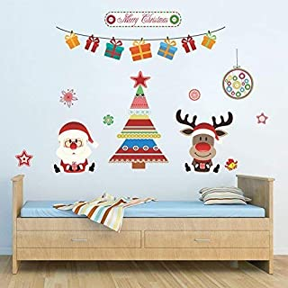 ANPHSIN 2 pcs Christmas Window Sticker Decal - Removable DIY Wall Door Mural Decoration for Holiday and Party (Christmas Tree + Bell) - L