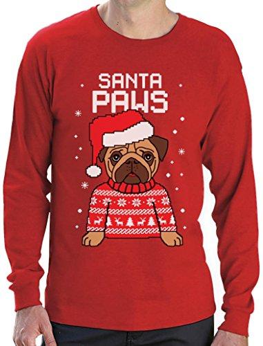 Green Turtle T-Shirts Santa Paws Pfoten - Mops Süßes Weihnachtsshirt Motiv  Langarm T-