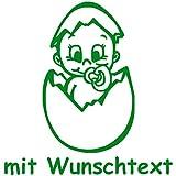 Babyaufkleber mit Name/Wunschtext - Motiv 719 (16 cm) - 20 Farben und 11 Schriftarten wählbar