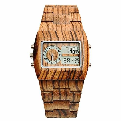 Modeschmuck Unterschied Und Modeschmuck Zwischen (Bewell Fashion Style Digital Holz Armbanduhr für Männer mit japanischen Quarzwerk und Multifunktionen von Kalender und leuchtenden Hintergrund 021)