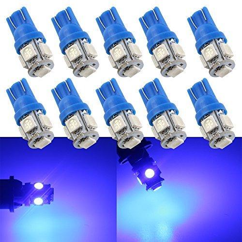 Grandview 10-Pack T10 501 W5W 194 168 Bleu 5-SMD 5050 LED intšŠrieur de la voiture, plaque de numšŠro, tableau de bord Boot Ampoules (12 V)