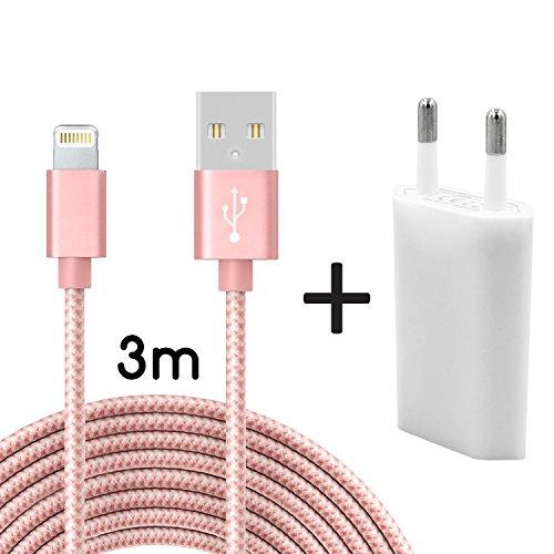 Coverlounge Ladegerät mit Lightning Kabel 3m / 3 Meter Nylon mit Netzteil/Netzstecker Lightning Ladekabel kompatibel mit Apple iPhone, iPad und iPods mit Lightning Anschluss (8 Pin) in Rose Gold