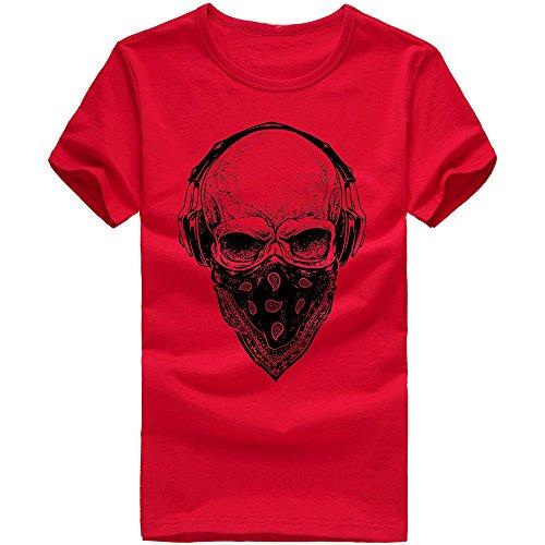 DAY.LIN T Shirts Männer Herren Männer Druck Tees Shirt Kurzarm T Shirt Bluse Herrenmode Print T-Shirt (Rot, M=EUS)