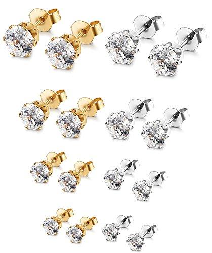 Sailimue 8 Pairs Stainless Steel Stud Earrings for Women Men Cubic Zirconia Earrings Set,3-6mm