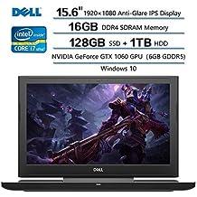 "Dell Inspiron 15 Notebook, 15.6"" FHD Anti-Glare IPS Display, Intel Core I7-7700 (up To 3.8GHz), 16GB DDR4 SDRAM, 1TB HDD+128GB SSD, NVIDIA GeForce GTX 1060 GPU, Windows 10"