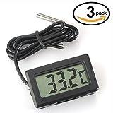 WINGONEER 3Pcs Monitor de temperatura Digital LCD Termómetro con sonda externa para el refrigerador y congelador acuario --Black