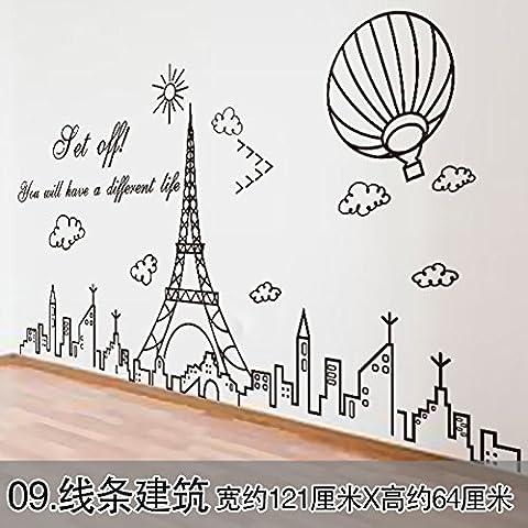 La testa del letto dormitorio divano letto pareti decorate con autoadesivo bandeau carta da parati continentale lampadari di personalità wallpaper poster linee ,09 bandeau(1*3pcs)