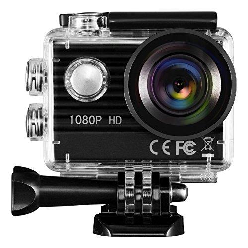 TOPELEK Action Kamera Sport-Actionkamera HD 1080P Action-Kamera mit 30M Wasserfeste Hülle 16MP Wasserdichter Nocken für Schwimmen, Wasserski, Surfen, Klettern, Tauchen usw (Mp Kamera 16)