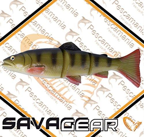 Savage Gear 3D Line Thru Trout Gummifisch Forelle, Kunstköder für Hecht, Zander, Waller, Angelköder zum Spinnfischen und Schleppangeln, Hechtköder, Zanderköder, Wallerköder, Welsköder, Forellenköder, Gummiforelle, Gummiköder, Farbe:Perch (Barsch);Länge / Gewicht /Schwimmverhalten:15cm / 35g/ langsam sinkend