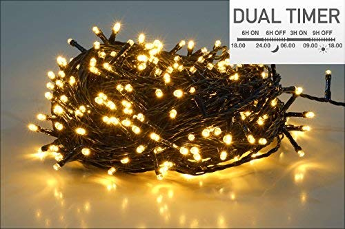 LED Lichterkette 80 LED - warmweiß - für den Innen- und Außenbereich - mit Dual Timer für Morgens und Abends (6 m - 80 LED)