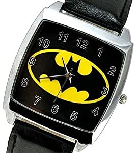 The Dark Knight Batman Logo Quartz Watch with analogue display and high quality Calf Grain Real Leather strap