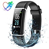 Mpow Fitness Armband mit Pulsmesser, Wasserdicht IP68 Fitness Tracker LCD-Display Farbbildschirm (5-Level-Helligkeit) 14 Trainingsmodi Vibrationsalarm Anruf SMS Beachten mit iOS Android Handy