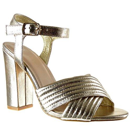 Angkorly - Scarpe da Moda sandali scarpe decollete aperto donna lines finitura cuciture impunture tanga Tacco a blocco tacco alto 10.5 CM - Oro 88-113 T 39