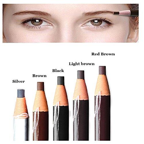 Pinkiou Lápices para cejas Microblading Lápices peel-off Lápices para maquillaje de cejas Lápices cosméticos a prueba de agua (5 piezas)