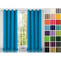 Rollmayer Modern Vorhang (Blau 41) Schal Mit Ösen 140x250 Cm  Lichtundurchlässig Gardine, Ösenvorhang
