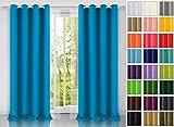 modern Vorhang (Blau 41) Schal mit Ösen 140x250 CM lichtundurchlässig Gardine, Ösenvorhang Ösenschal für Kinderzimmer, Jugendzimmer, Schlafzimmer, Küche in 40 FARBEN!