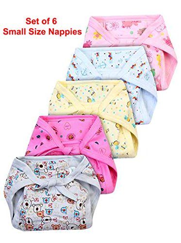 Set of 6 Reusable and Comfortable Hosiery Color Nappies / Langot with Design for Your Baby - Size Small
