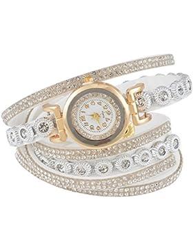 Souarts Damen Geflochten Korea Samt Armbanduhr Jugendliche Mädchen Armreif Uhr mit Batterie Zifferblatt 40cm Weiß