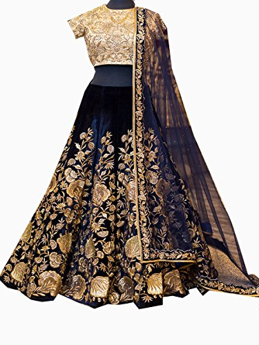 Priyanka Trends Women's Velvet Party Wear Lehenga Choli (PRTSA308_Blue_FreeSize)