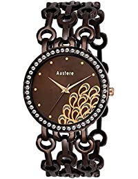 Austere Premium Quality Chocolate Color Analog Women's Watch With Metal Chain: AWW-BLA-090909