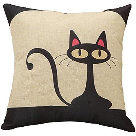 Decoración de lino de algodón cojín decorativo funda de cojín, diseño de gato negro