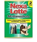 Nexa Lotte Mottenschutz 2 Stück gegen Mottenlarven und Pelzkäferlarven Kleidermotten Schützt 6 Monate