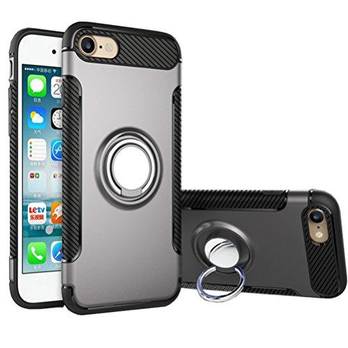 Bestsky iPhone SE/5/5s Hülle mit Ring Ständer, Telefon Handyhülle mit Halterung Halter Kickstand Silikon Stoßfest Rüstung Bumper Case Cover für iPhone SE/5/5s(4.0 Zoll), Grau