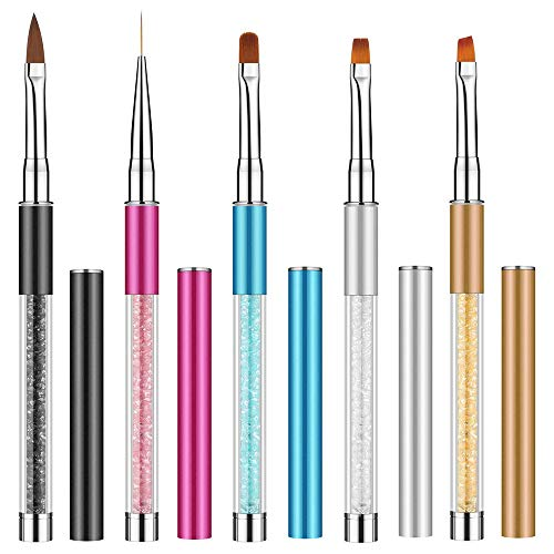Ebanku 5 Stück UV Gel Acryl Nail Art Pinsel Nagel Kunst Nagelkunst Nageldesign Malerei Liner Pinsel Stift Werkzeug Set für DIY Nail Art Salon und Home Use