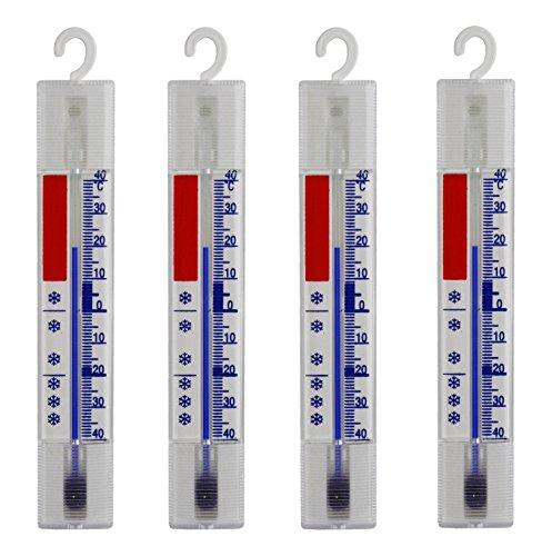 4 Stück Set Kühlschrank , Gefrierschrank , Eisschrank , Kühl Thermometer . Analog und Quecksilberfrei . Mit Haken aus Deutscher Herstellung . Temperaturanzige + / - 40 °C