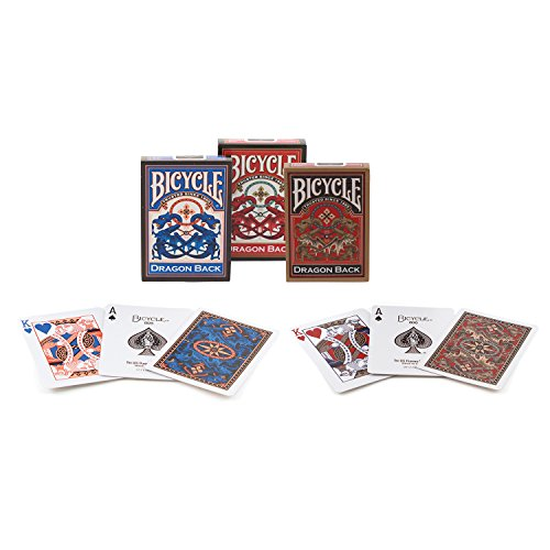 Cubierta 3 Set bicicleta Dragon posterior naipes - 1 oro, 1 azul y 1 rojo 3 Deck Set Bicycle Dragon Back Playing Cards - 1 Gold, 1 Blue & 1 Red