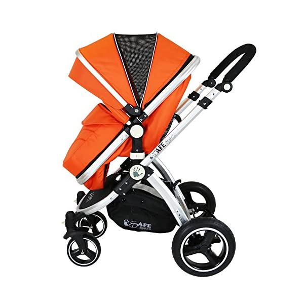 i-Safe System - Orange Trio Travel System Pram & Luxury Stroller 3 in 1 Complete with Car Seat iSafe ABSOLUTELY 100% SATISFACTION GUARANTEE! With Manufacturers 12 Months Warranty*super Amazing Quality! One Of The Very Best Pram Systems In The UK! A Truly State Of the Art Product Built With The Parent And Baby In Mind! Complete With Boot Cover, Luxury Liner, 5 Point Harness, Shopping Basket With Closed Ziped Top, High Quality Luxury Car Seat High Quality Rubber Inflatable Wheels With The Full All around Soft Suspension For That Perfect Unrivalled Ride. 3 in 1 Stroller / Pram Extremely Easy Conversion To A Full Size Carrycot For Unrivalled Comfort 5