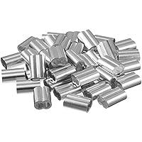 sourcing map 0,27 Pulgadas (6,9mm) de Diámetro Manguitos de Aluminio para Pasacables Funda Engarzado Tono de Plata 50pcs