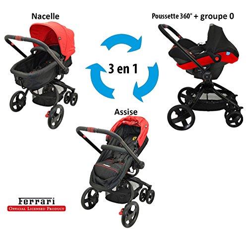 Migo Ferrari Kinderwagen 360°, 3in 1,mit Babyschale Gruppe 0+ (von 0bis 13kg)