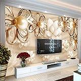 Decorazione da parete moderna decorazione murale Golden Pearl fiori 3D wallpaper soggiorno TV Hotel lusso foto arredamento interno Fresko