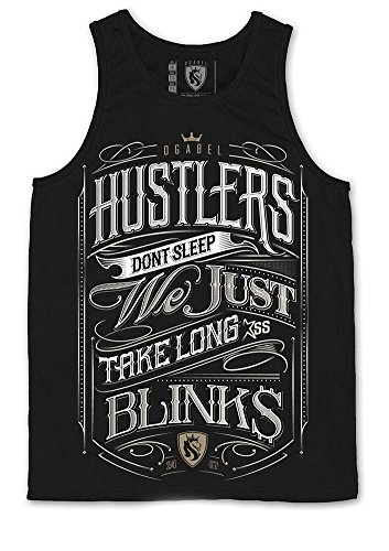 Hustler Top Shirt (OGABEL OG ABEL Men's Hustlers Don't Sleep Tank Top Shirt Black S)