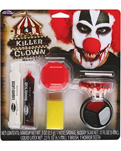 Horror Clown Make-up Kit 9-TLG. mit Schminke, Gebiss und Nase (Make-up Clown Kit)