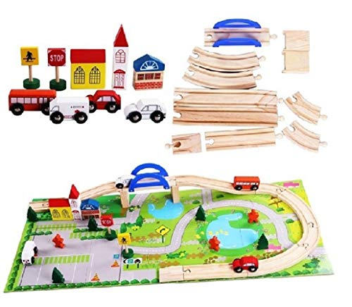Train en Bois 40 pièces, Jouets en Bois pour Enfants, coloré, Train Rails Grand Cadeau pour Petit Train en Bois Schaffner avec Tapis de Jeu
