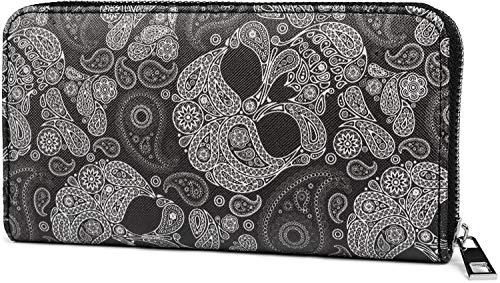 styleBREAKER Damen Geldbörse mit Totenkopf Paisley Print, Reißverschluss, Portemonnaie 02040118, Farbe:Schwarz