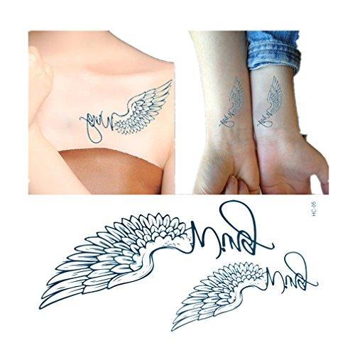 Temporary Tattoos Engelsflügel Tattoos Aufkleben für Körper ,4St ein (Engelsflügel Tatoo)