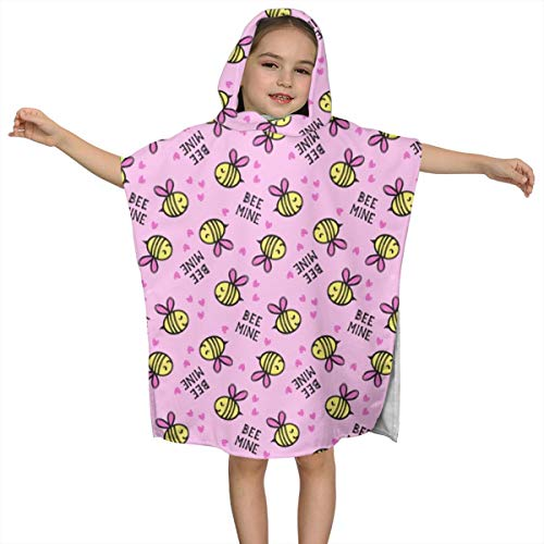 Cute Hooded Bath Beach Towel Bee Mine Valentines Day Ultra Soft Quick Drying Super Soft Single Ply 100% Organic Cotton ()