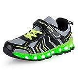 AFFINEST Kinder LED Light Up Sneakers Outdoor Sportschuhe Schnür Turnschuhe Laufschuhe Basketball Schuhe for Jungen Mädchen(Grün,36)