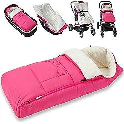 Saco para bebé para cochecito, silla de coche o asiento de bebé color rosa - 93 x 56 cm - material: poliéster 100 %