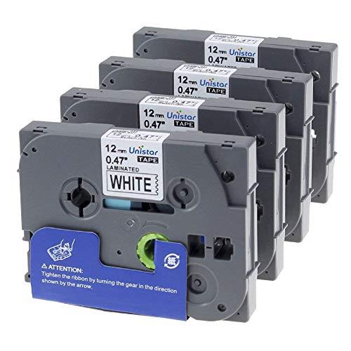 4 x Label Tape/Nastro Laminato per Brother P-Touch TZe 231 / TZ 231 / Nero sur Bianco / 12mm x 8m / Compatibile per Brother P-Touch PT-1000 GL-H105 GL-200 PT-1080 PTE-550WVP PT-P700 PT-H300 P900