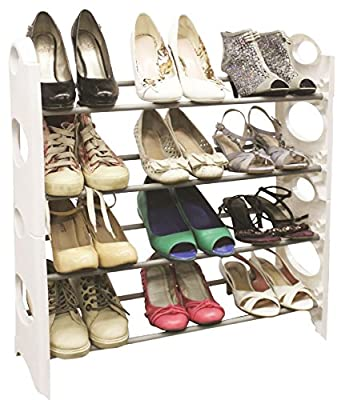 Vinsani 4 Tier Shoe Rack Shelve Organiser Available In Pink Black And White Colour - low-cost UK light shop.