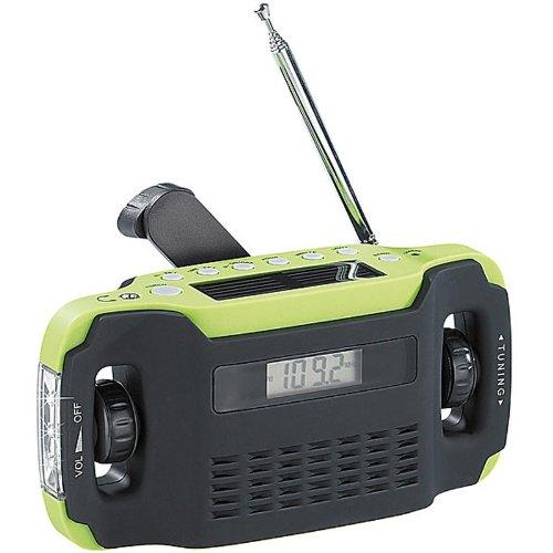 Solar-USB-Dynamo Kurbel FM/AM Koffer Radio mit Uhr und LED-Licht