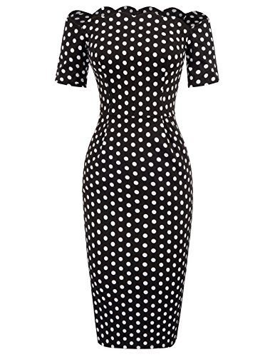 Belle Poque etuikleid Knielang schulterfrei Pencil Kleid Bodycon Kleid Polka dots Kleid BP0742-1 M Dot Kleid